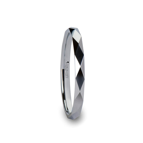 EVELYN Diamond Faceted White Tungsten Ring - 2mm
