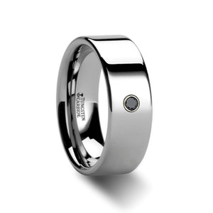 CEDRIC Flat Polished Tungsten Carbide Black Diamond Ring - 6mm & 8mm