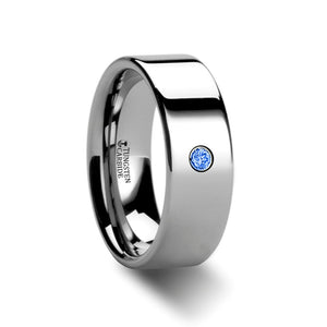 NICOLA Pipe Cut Polished Tungsten Carbide Blue Diamond Ring - 6mm & 8mm