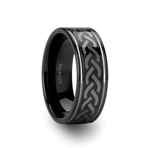 AIDEN Celtic Pattern Black Tungsten Carbide Ring - 8mm