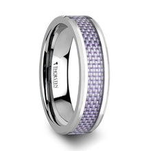 EVA Beveled Tungsten Carbide Ring with Purple Carbon Fiber Inlay - 4mm & 6mm