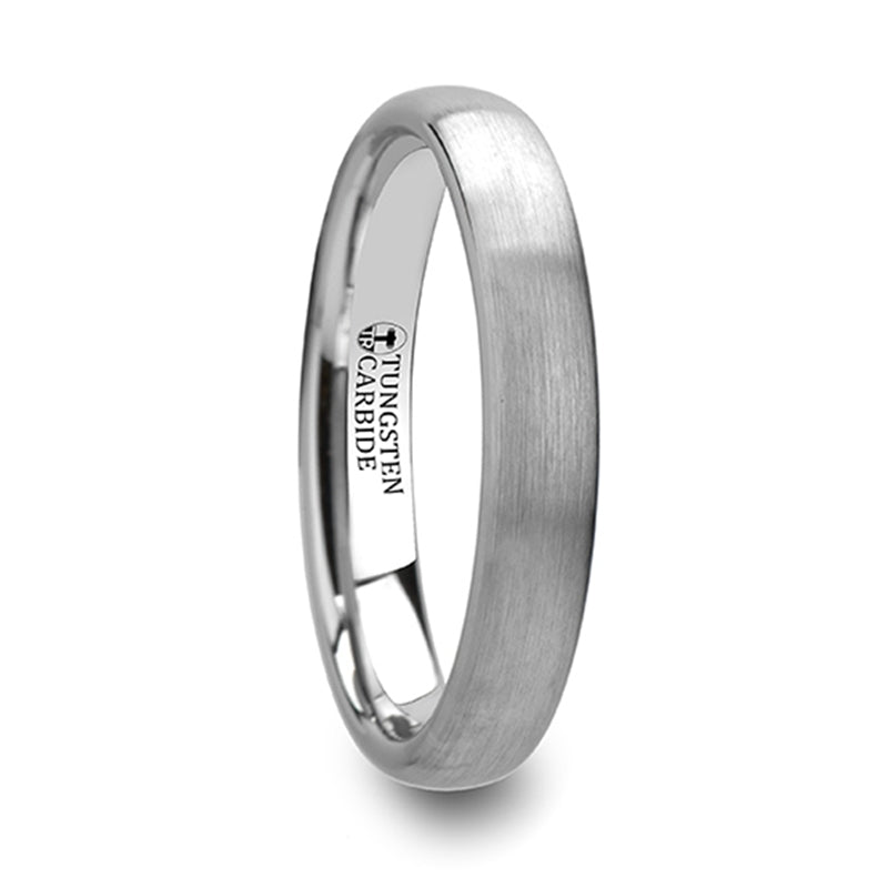 JOAN Round Brushed White Tungsten Ring - 2mm - 8mm