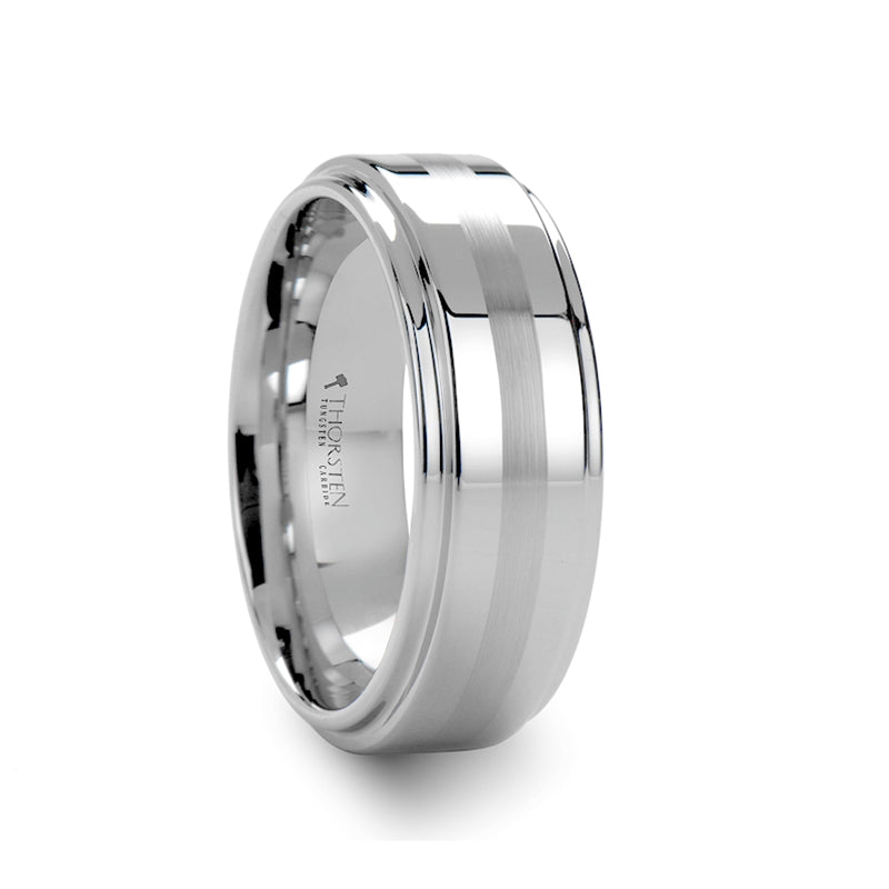 EZRA Brushed Stripe White Tungsten Carbide Ring with Raised Center - 8mm