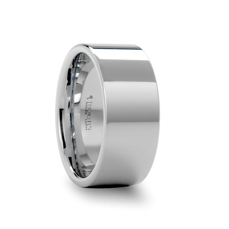 BATES Pipe Cut White Tungsten Carbide Ring with Polished Finish - 10mm