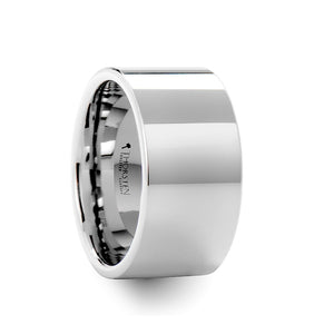 MAGNETO Pipe Cut White Tungsten Carbide Ring with Polished Finish - 12mm
