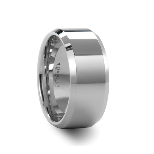 HARRISON Beveled White Tungsten Carbide Ring - 10mm