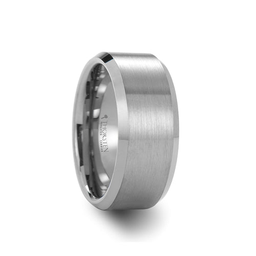 HUXLEY Beveled Tungsten Carbide Ring with Brushed Center - 10 mm