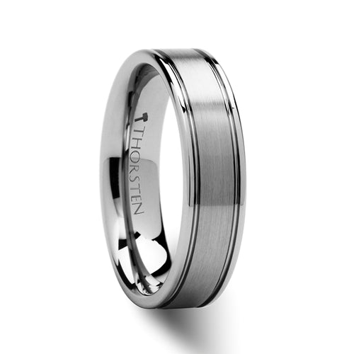 NEWMAN Pipe Cut Brush Finish Tungsten Carbide Ring - 6mm - 10mm