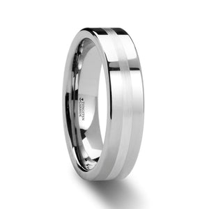 KNOX Pipe Cut Tungsten Carbide Ring with Silver Inlaid - 6mm & 8mm