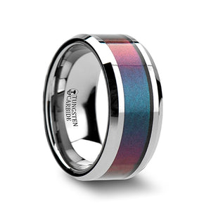 TETRA Tungsten Carbide Ring with Blue/Purple Color Changing Inlay - 4mm - 10mm
