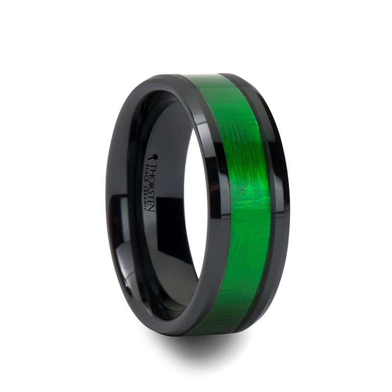 ZIELE Black Ceramic Ring with Textured Green Inlay and Beveled Edges - 8mm