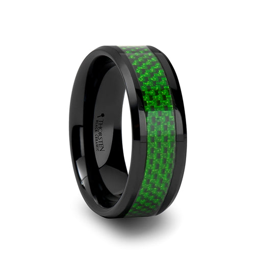 VERT Black Ceramic Ring with Emerald Green Carbon Fiber Inlay and Beveled Edges - 8mm