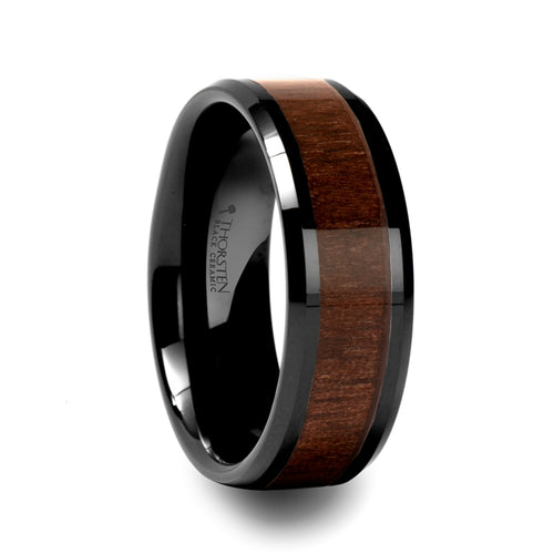 YAGER Black Ceramic Ring with Black Walnut Wood Inlay and Beveled Edges - 4mm - 12mm