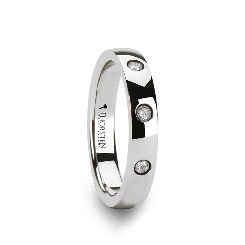 FLORENCE Rounded White Tungsten Carbide Ring with 3 Diamonds - 4 mm