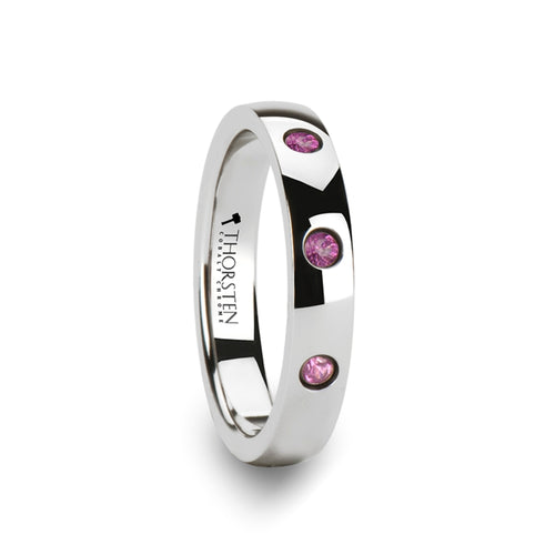 ROXY Rounded White Tungsten Wedding Band with 3 Pink Sapphires - 4 mm