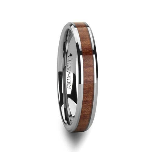 LAUREL Beveled Tungsten Carbide Ring with Rosewood Inlay - 4mm - 12mm