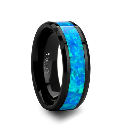 ELECTRON Blue & Green Opal Inlaid Black Ceramic Ring - 4mm - 10mm