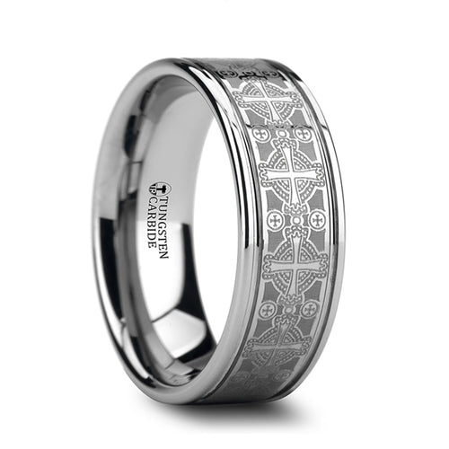 FRANCIS Flat Grooved Tungsten Ring with Engraved Intricate Cross Pattern - 8mm