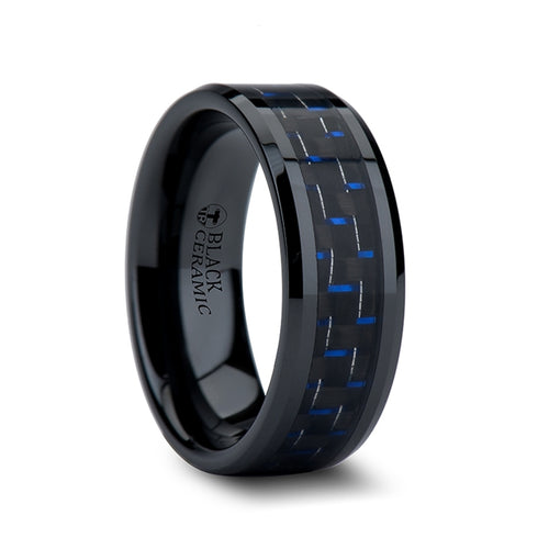 SAROS Black Beveled Ceramic Ring with Blue & Black Carbon Fiber Inlay - 4mm - 10mm