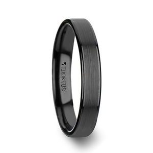 HELA Flat Black Tungsten Ring with Brushed Center & Polished Edges - 4mm - 12mm