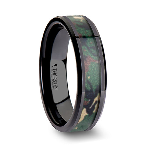 PERSHING Beveled Black Ceramic Wedding Ring with Real Military Style Jungle Camo - 6mm - 10mm