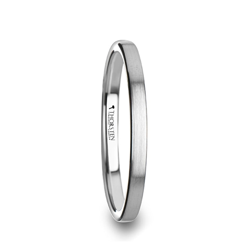 ASTRID Flat Style Womens Tungsten Carbide Ring with Brushed Finish - 2 mm