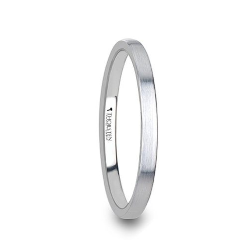 MINA Flat Style White Tungsten Carbide Ring with Brushed Finish - 2mm