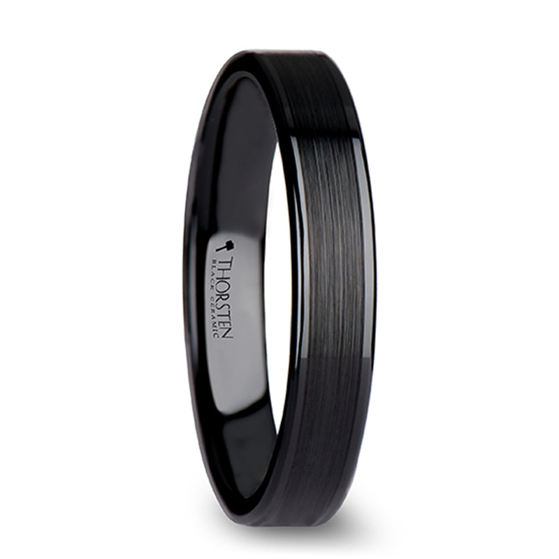 BOSWORTH Flat Black Ceramic Ring with Brushed Center & Polished Edges - 4mm - 12mm