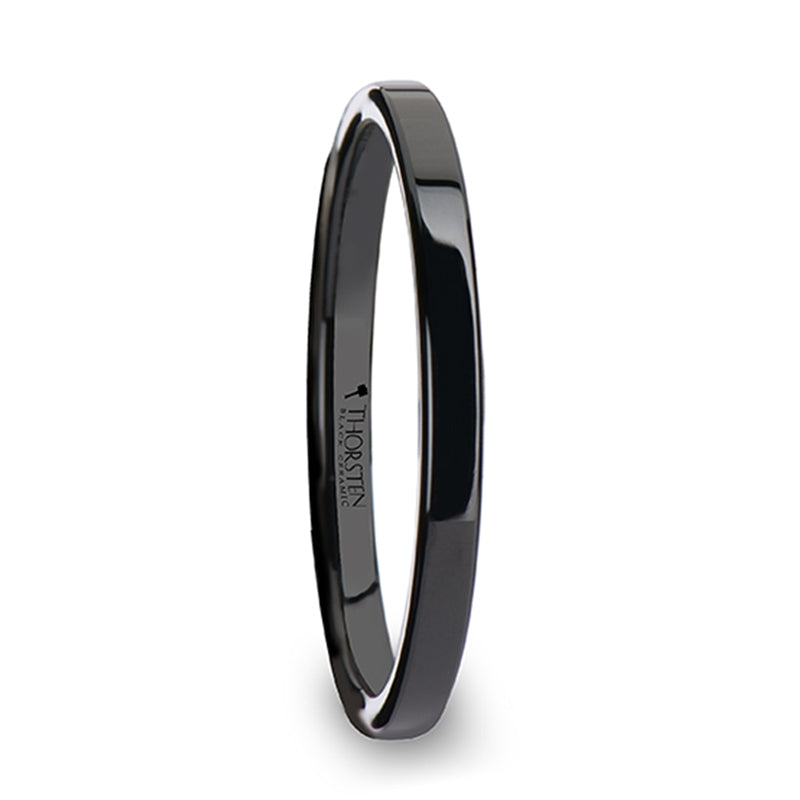EMILY Black Flat Shaped Ceramic Wedding Ring for Her - 2 mm