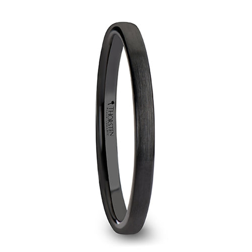 CIARA Black Flat Shaped Ceramic Wedding Band for Women with Brushed Finish - 2 mm