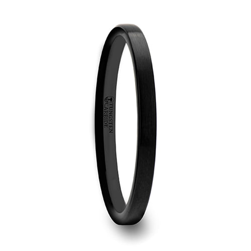 DELILAH Black Flat Shaped Tungsten Wedding Band with Brushed Finish - 2 mm