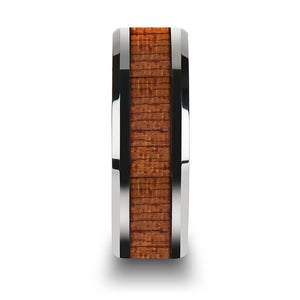 MATHIS Tungsten Wedding Band with Polished Bevels and African Sapele Wood Inlay - 6mm -10mm
