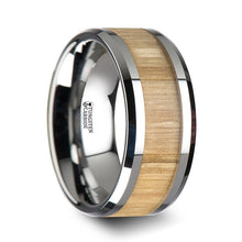 TIMBER Tungsten Ring with Polished Bevels and Ash Wood Inlay - 6mm - 10mm