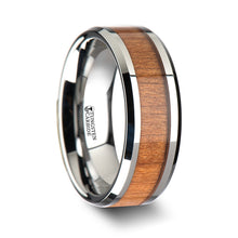 NOBLE Tungsten Wedding Ring with Polished Bevels and Black Cherry Wood Inlay - 6 mm - 10 mm