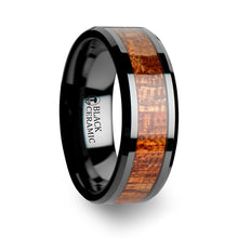 SWETEN Black Ceramic Band with Polished Bevels and Exotic Mahogany Hard Wood Inlay - 4 mm - 10 mm