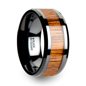 SAGNE Wood Black Ceramic Ring with Polished Bevels and Teak Wood Inlay - 6mm - 10mm