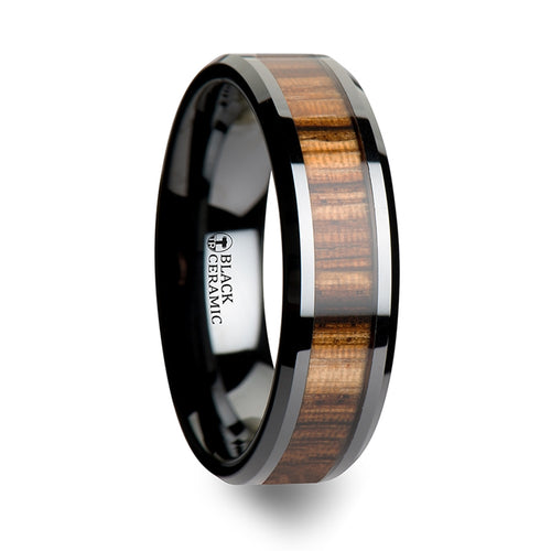 HEARTWOOD Black Ceramic Ring with Beveled Edges and Real Zebra Wood Inlay - 4mm - 10mm