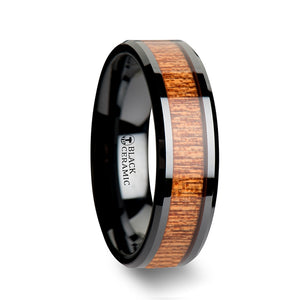 SAPE Black Ceramic Wedding Band with Polished Bevels and African Sapele Wood Inlay - 6 mm - 10 mm