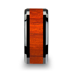 VERMILLE Black Ceramic Wood Ring with Polished Bevels and Padauk Real Wood Inlay - 6 mm - 10 mm