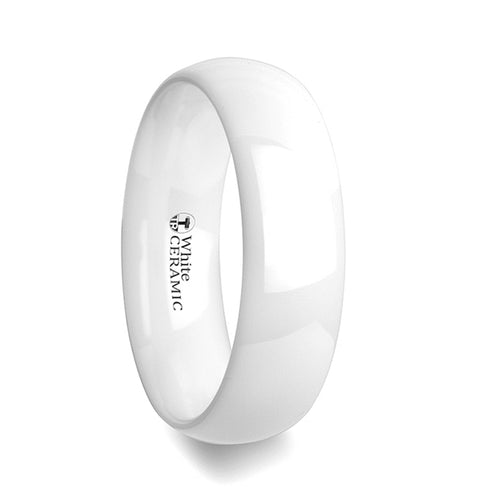 WEIS Domed Polish Finished White Ceramic Ring - 6mm & 8mm
