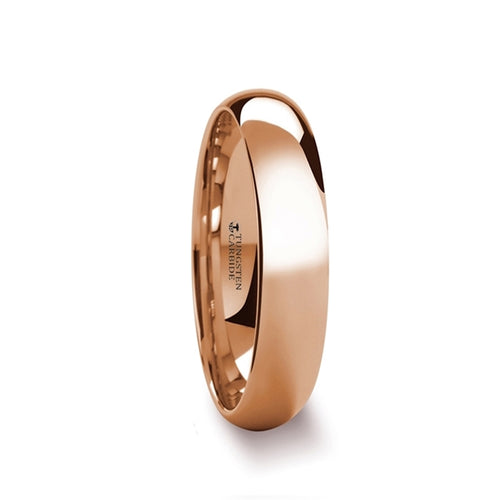 REGENT Traditional Domed Rose Gold Plated Tungsten Carbide Wedding Ring - 4mm - 8mm