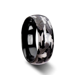 CAPTAIN Domed Black Tungsten Carbide Ring with Black and Gray Camo Pattern - 8mm