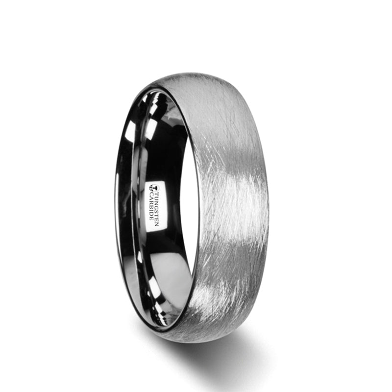 JUDE Domed Tungsten Carbide Ring with Deep Texture Brush Finish Design - 6mm - 8mm