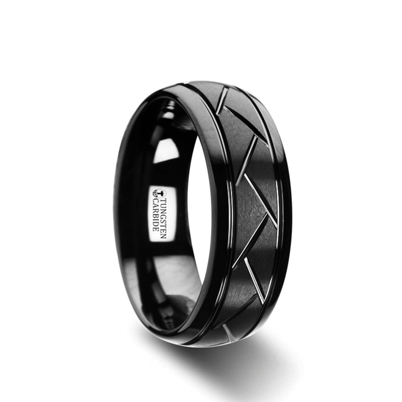 MAZE Domed Black Tungsten Ring with Brushed Cross Alternating Diagonal Cuts Pattern - 8mm
