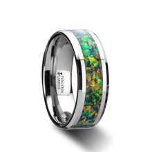 RADIANCE Tungsten Carbide Ring with Blue & Orange Opal Inlay - 8mm