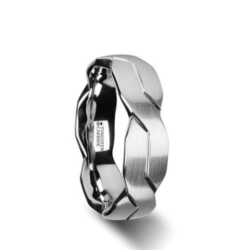 ETERNAL White Tungsten Ring with Brushed Carved Infinity Symbol Design - 6mm - 10mm