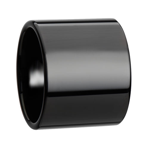 OSIRIS Black Flat Pipe Cut Tungsten Carbide Ring with Polished Finish - 20 mm