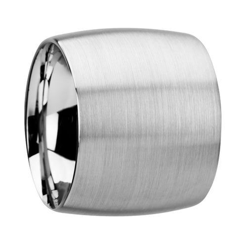 MONARCH Domed Tungsten Carbide Ring with Brushed Finish - 20 mm