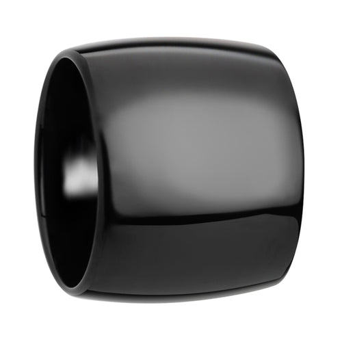 HULK Domed Black Tungsten Carbide Ring with Polished Finish - 20 mm