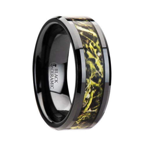 MARSH Black Ceramic Wedding Band with Green Marsh Camo Inlay Ring - 8mm